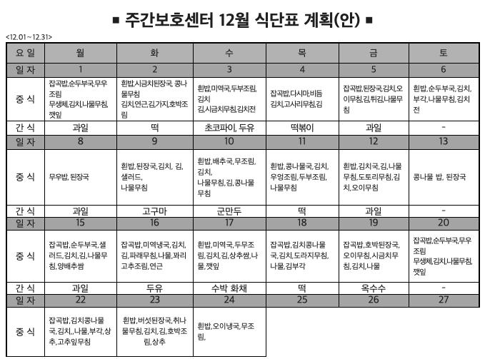 14년 12월 식단 계획표